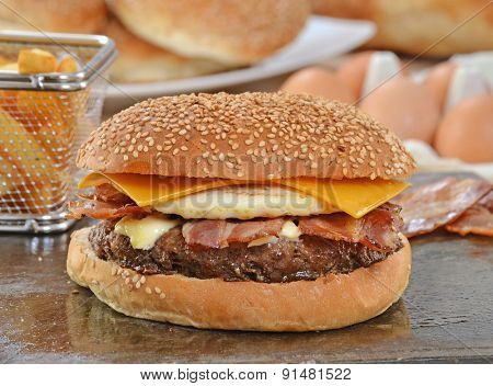 Egg cheese burger and ingredients.