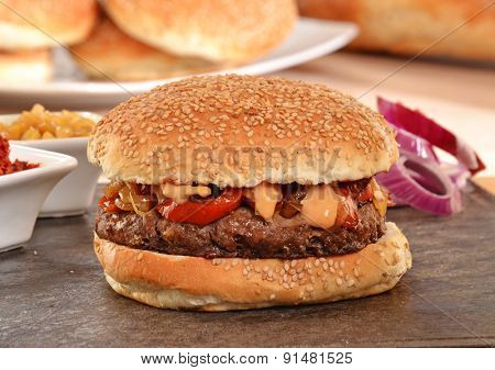 Onion burger and ingredients,