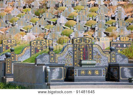Penang, Malaysia - February 26, 2015: Chinese cemetery on Penang island, Malaysia