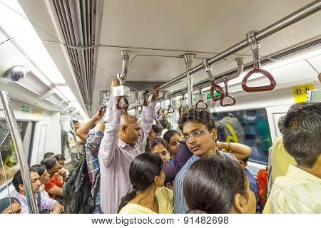 Passengers Ride In The Metro Train