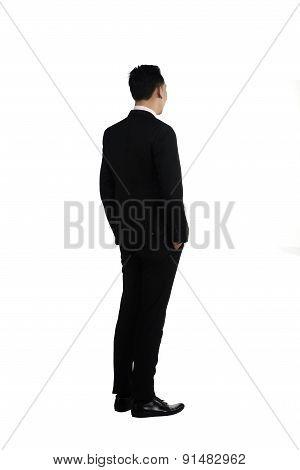 Backview Fullbody Asian Business Man