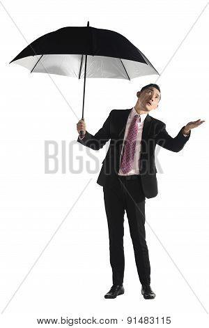 Asian Business Man Holding Black Umbrella
