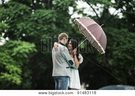 Young couple having a great time