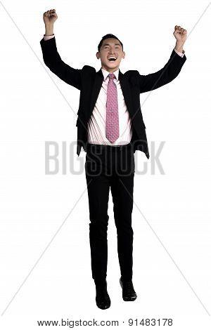 Asian Business Man Raise Hand