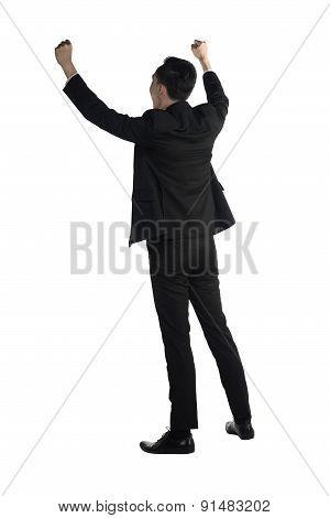 Backview Of Asian Business Man Raise Hand
