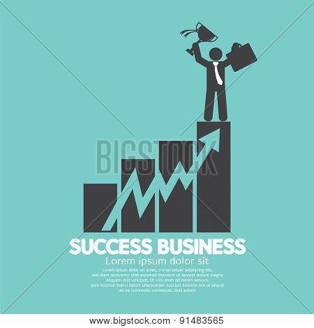 Businessman Standing On An Increase Chart Success Business Concept.