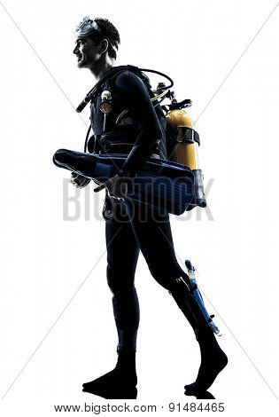 one caucasian scuba diver diving man  in studio  silhouette isolated on white background