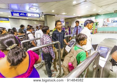 Passengers Alighting The Metro Train