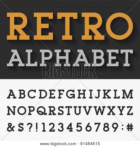 Retro Slab Serif Alphabet Vector Font