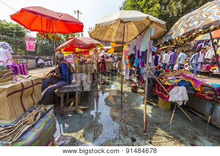 Indian People Bargain And Buy At The Jama Mashid Bazaar