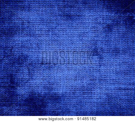 Grunge background of cerulean blue burlap texture