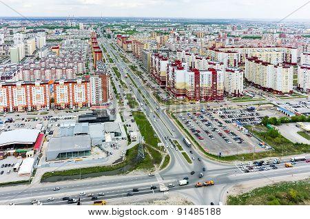 Bird eye view on Permyakova street. Tyumen. Russia