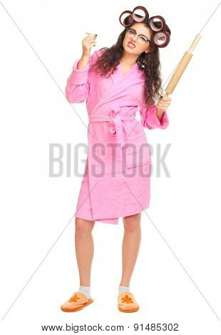 Funny housewife with nerd glasses isolated