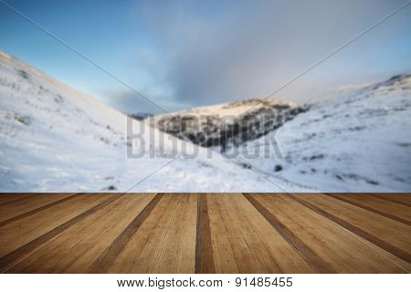 Beautiful Snow Covered Sunrise Winter Rural Landscape With Wooden Planks Floor