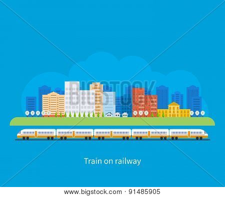 Train on railway with city background