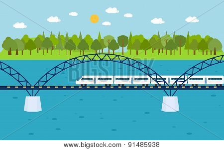 Train on railway bridge. Forest and lake on background.