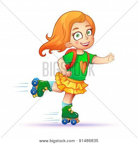 Little girl rides on roller skates.