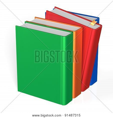 Books Blank Row Four 4 Covers Selecting Red Colorful Icon