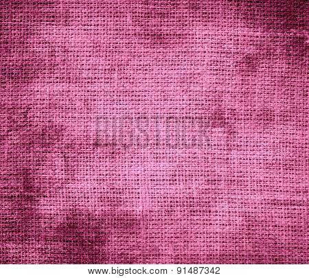 Grunge background of china pink burlap texture