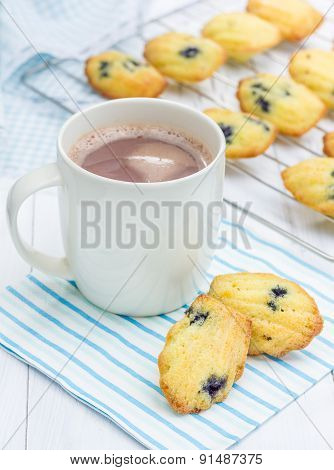 Madeleines With Blueberries And A Cup Of Hot Chocolate