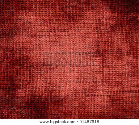 Grunge background of chinese red burlap texture