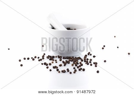 Peppercorns In Mortar And Pestle