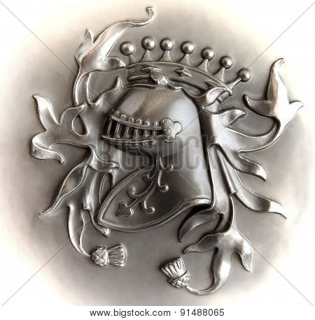 Bas-relief Knight's Crest With A Light Vignette