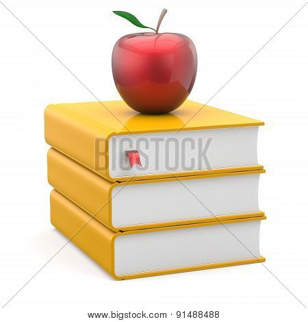 Books Yellow Textbooks Stack Red Apple Education Studying
