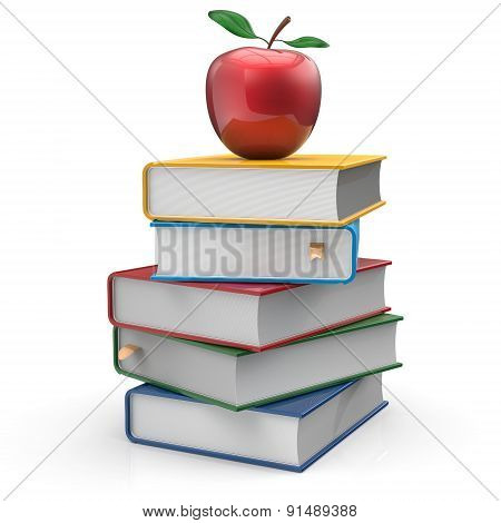 Books Textbook Multilocored Red Apple Education Read Icon