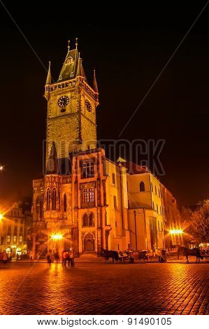 Night View On Powder Tower In Prague, Czech Republic