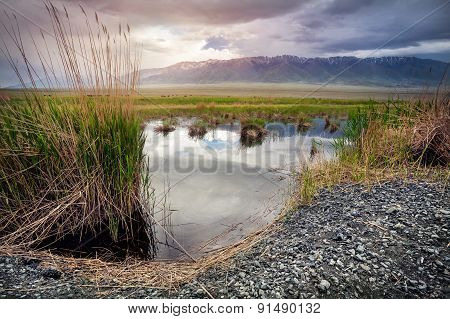 Lake At Mountains In Kazakhstan