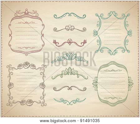 Retro graphic line elements, dividers and monogram frames set on a paper