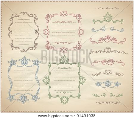 Hand drawn floral retro frames and line dividers collection on a paper
