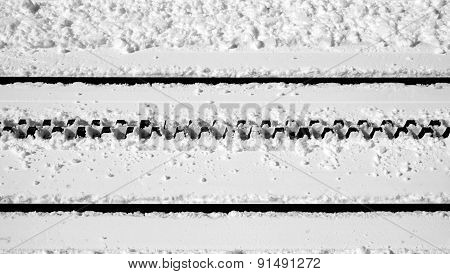 Railway Close Up And Snow