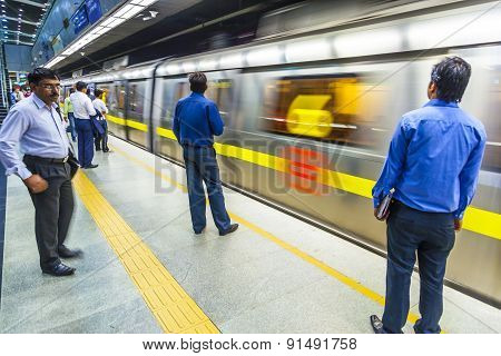 Passengers Alighting Metro Train