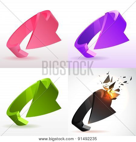 Vector illustration of 3d arrows icons set