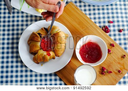 Croissants With Glass Of Milk And Jam