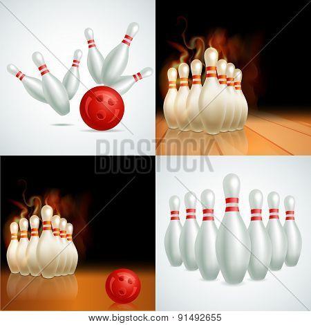 Bowling balls vector set