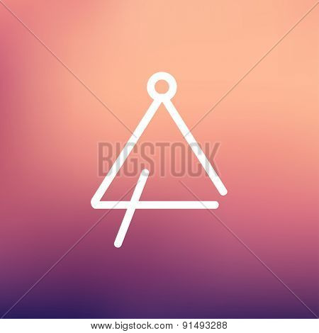 Triangle icon thin line for web and mobile, modern minimalistic flat design. Vector white icon on gradient mesh background.