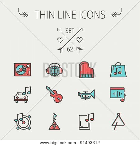 Music and entertainment thin line icon set for web and mobile. Set include-Phonograph turntable, trumpet, piano, guitar, headphone, tambourine, car music   icons. Modern minimalistic flat design
