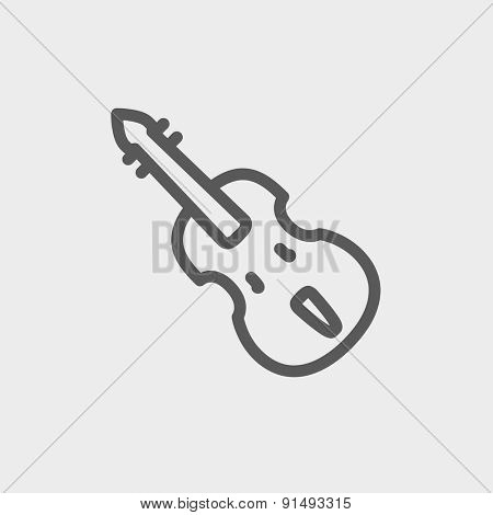 Cello icon thin line for web and mobile, modern minimalistic flat design. Vector dark grey icon on light grey background.
