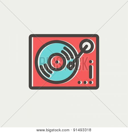 Phonograph turntable icon thin line for web and mobile, modern minimalistic flat design. Vector icon with dark grey outline and offset colour on light grey background.