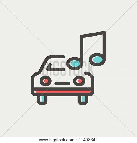 Car with music icon thin line for web and mobile, modern minimalistic flat design. Vector icon with dark grey outline and offset colour on light grey background.