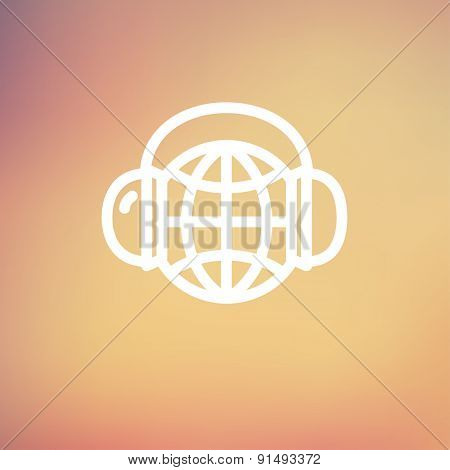 World music icon thin line for web and mobile, modern minimalistic flat design. Vector white icon on gradient mesh background.