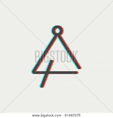 Triangle icon thin line for web and mobile, modern minimalistic flat design. Vector icon with dark grey outline and offset colour on light grey background.