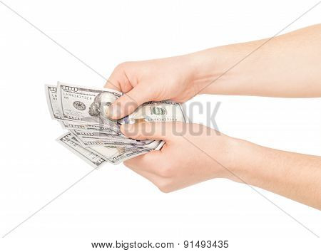 Hand Holding American Dollar Bills. Isolated On A White Background