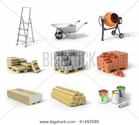 Set Of Construction Material. Ladder, Wheel, Concrete Mixer, Cement, Bricks, Gypsum, Beams And Paint