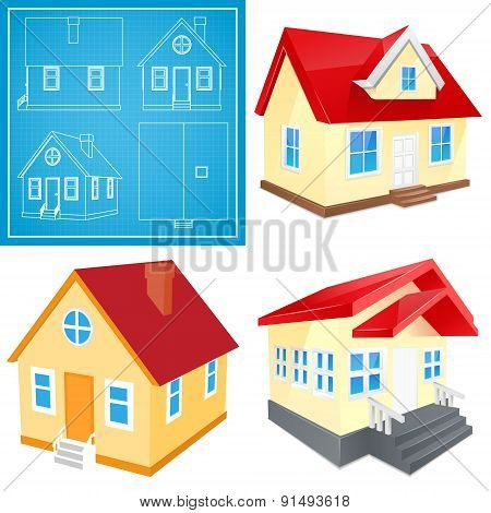 Small house with red roof illustrations set