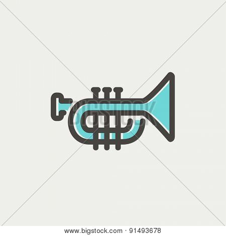 Trumpet icon thin line for web and mobile, modern minimalistic flat design. Vector icon with dark grey outline and offset colour on light grey background.