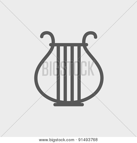 Lyre icon thin line for web and mobile, modern minimalistic flat design. Vector dark grey icon on light grey background.